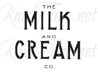 "Milk and Cream Co. Dairy Sign Stencil with free 1"" Bristle Stencil Brush - Dairy Sign, Farm Sign, Farmhouse Sign"