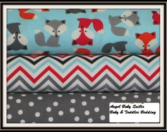 Baby Girl Crib Bedding Set, Foxes, Toddler Bedding, Crib Skirt, Crib Sheet, Bumper Pad, Rail Cover,  Individual Pieces or Complete Sets