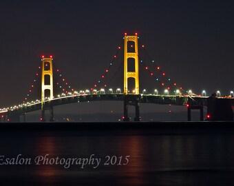 Michigan's Mackinac bridge at night color print