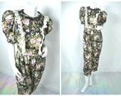 90s grunge floral ruffle lace bib front bow tie ascot jumpsuit