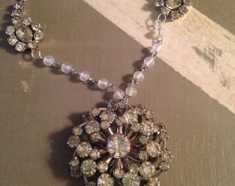Vintage rhinestone and rosary beads necklace