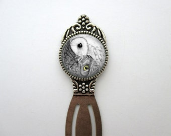 Yin Yang Owl Bird Metal Bookmark Reading Book Accessories for Bookworms Bibliophiles Librarians