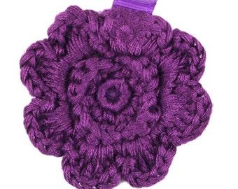 Purple Crochet Clip Flower