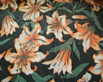 Fabric Destash -  Orange and White Tiger Lilies Print Fabric