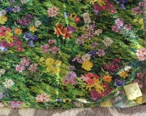 "1970's Green Shiny Stretch Knit Fabric Grass and flowers  1 Yard or 45"" x 36""- vintage knit fabric, floral fabric, sewing fabric swimsuit"