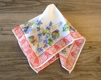 Vintage Blue Floral Handkerchief Hanky with Red Hem- floral hanky, vintage handkerchief, blue flower, blue floral hanky
