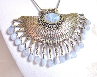 Vintage Sterling Silver Necklace Fan Pendant Blue Lace Agate Large New Old Stock