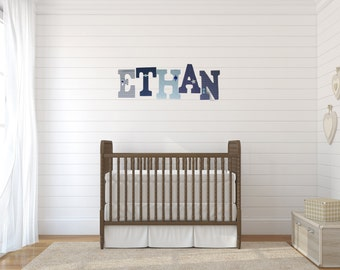Nursery Letters - Aqua and Navy Blue Wooden Letters - Custom Name Art - Baby Shower Gift