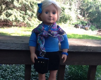 Blue and Black Skirt and Shirt Outfit with Scarf and Purse to fit 18 Inch Doll like American Girl, girls gifts, girls toys, doll scarf