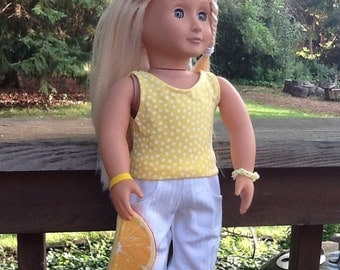 18 Inch Doll Clothes Yellow Polka Dot Cargo Pants , Shirt and Purse