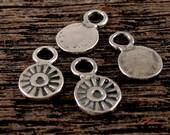 4 Artisan Rustic Sunburst Mini Medallion Charms in Sterling Silver AP69