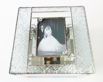 Elegant Stained Glass Keepsake 50th Anniversary Gift Box Golden Anniversary Wedding Picture Wedding Invitation Bride Groom Engagement Custom