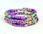summer sunset beaded memory wire bracelet, wrap, purple, colorful, sparkle