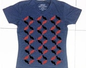 Men's Blue V-neck t shirt - black and red cats print-Size Small