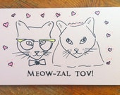 Hand drawn cat groom and cat-bride,  recycled card and Envelope