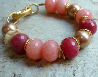 Peach stones bracelet, stone beads bracelet, semi precious stones bracelet, gold and peach chunky bracelet