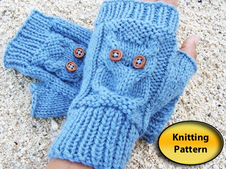 Owl Mittens Knitting Pattern : Owl Knit Fingerless Mittens PDF Pattern Owl by BoutiqueKallista