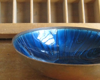 Mid Century Enamel Bowl Blue Copper Jewelry Dish Made in Germany US Zone