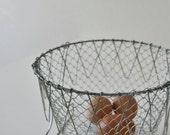 Vintage Wire Egg Basket,Folding,Farmhouse