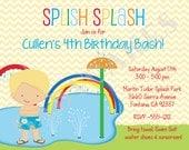 splash party invitation water park birthday invitation waterpark birthday invitation splash party printable boy digital DIY