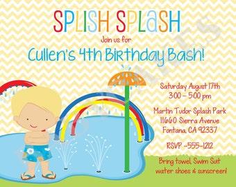 splash party invitation splish spalsh birthday invitation waterpark birthday invitation printable boy digital DIY