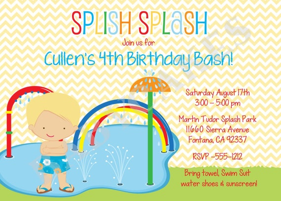 splash party invitation water park birthday invitation  etsy, Party invitations