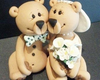 Bears Wedding Cake Topper Personalized Bear Wedding Bears Bear Bride and Groom Bears in Love Bear Cake Personalized Custom Handmade Keepsake