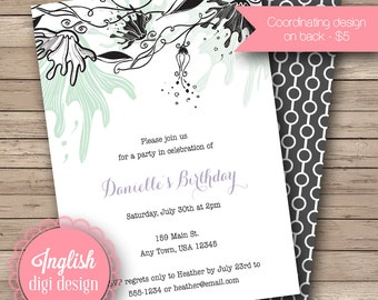 Printable Grunge Floral Birthday Party Invitation, Grunge Floral Birthday Party Invite - Grunge Floral Party Invite in Mint, Black, Purple