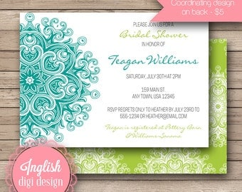 Medallion Bridal Shower Invite, Printable Medallion Bridal Shower Invitation, Medallion Shower Invite - Bold Medallion in Teal & Lime Green