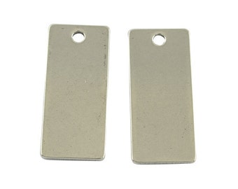 Metal Stamping Blanks Engraving Blanks Stainless Steel Blanks Blank Charms Blank Pendants Silver Blanks Rectangle Charms 21mm 10 pieces