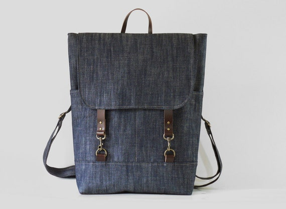 "Unisex, Indigo  Denim  Backpack , laptop bag(up to 15""), school bag, diaper bag with leather closure and 2 front pocket, Design by BagyBags"