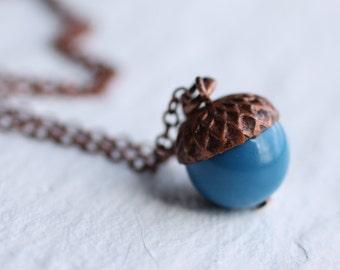 Acorn Necklace ...  Cobalt Navy Blue Swarovski Pearls Copper Oak