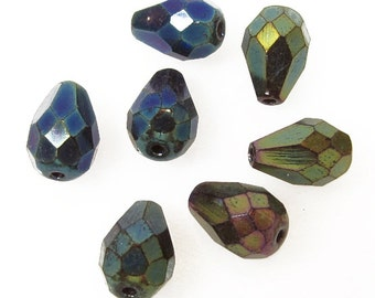 Czech Fire Polished Tear Drop Glass Beads, 10mm,  Green Iris,  Qty:10
