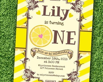 Lemon Birthday Invitation, Lemonade birthday invitation Girl birthday party, any age, first 1st 2nd 3rd 4th 5th 6th 7th 8th - card 706
