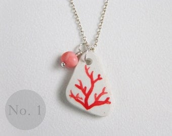 CUSTOM Red Coral Sea Pottery Necklace, Real Coral Bead, Nautical Jewelry