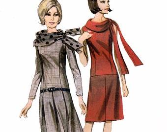 Butterick 3757 Vintage 60s Misses' Dress Sewing Pattern - Uncut - Size 14 - Bust 34