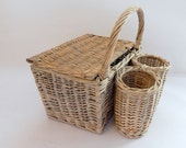 Vintage French Picnic Basket Handmade of Woven Willow 2 Bottle and Food Compartment