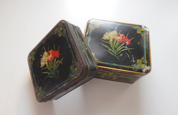 Pair Vintage French Tin Chocolate Boxes