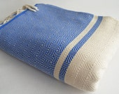 Shipping with FedEx - Diamond M2 - Sofa throw, Picnic blanket, Beach blanket, Tablecloth, Bedcover - Bathstyle - SOFT - Blue