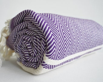 SALE 70 OFF/ BathStyle / Purple / Herrigbone Style Turkish Beach Bath Towel Peshtemal / High Absorbent Towels