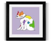 Rainbow Pride Dog, LGBT Queer Gay Lesbian Art Print, Bulldog, 10x10 Square Poster