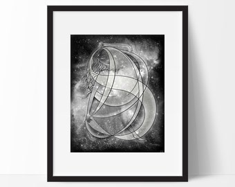 Nyx, Goddess of Night, Outer Space Galaxy Art Print in Black and White