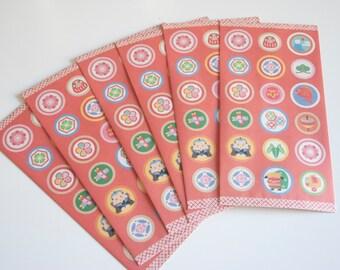 "Red Patterns - Japanese motif mini envelopes (6 envelopes 7.25"" x 3.62"" )"