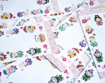 """Oji chan - Japanese motif mini envelopes (6 envelopes 7.25"""" x 3.62"""" )"""