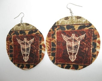 "Africa African ethnic tribal batik leopard giraffe animal print mask fabric circle big natural afro earrings brown black 3"" gift latin"