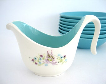 Vintage Ceramic Creamer Ever Yours Twilight Flowers Butterfly Turquoise Aqua White Purple Floral Spring Decor