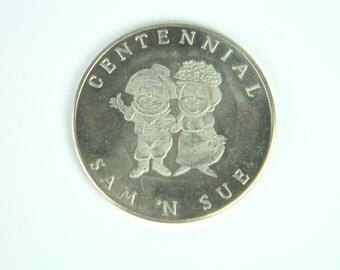 SAM 'N SUE Commemorative Souvenir Token - Centennial Union of Vancouver Island & British Columbia, 1967