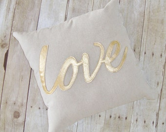 Love pillow, metallic gold, metallic pillow, linen pillow with gold love, Linen love pillow , linen love cushion , love cushion
