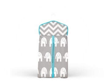 Elephants Chevron Diaper Stacker (choose trim color)