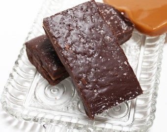 Dark Chocolate Salted Caramel Fudge, 1 pound of gooey caramel and chocolate